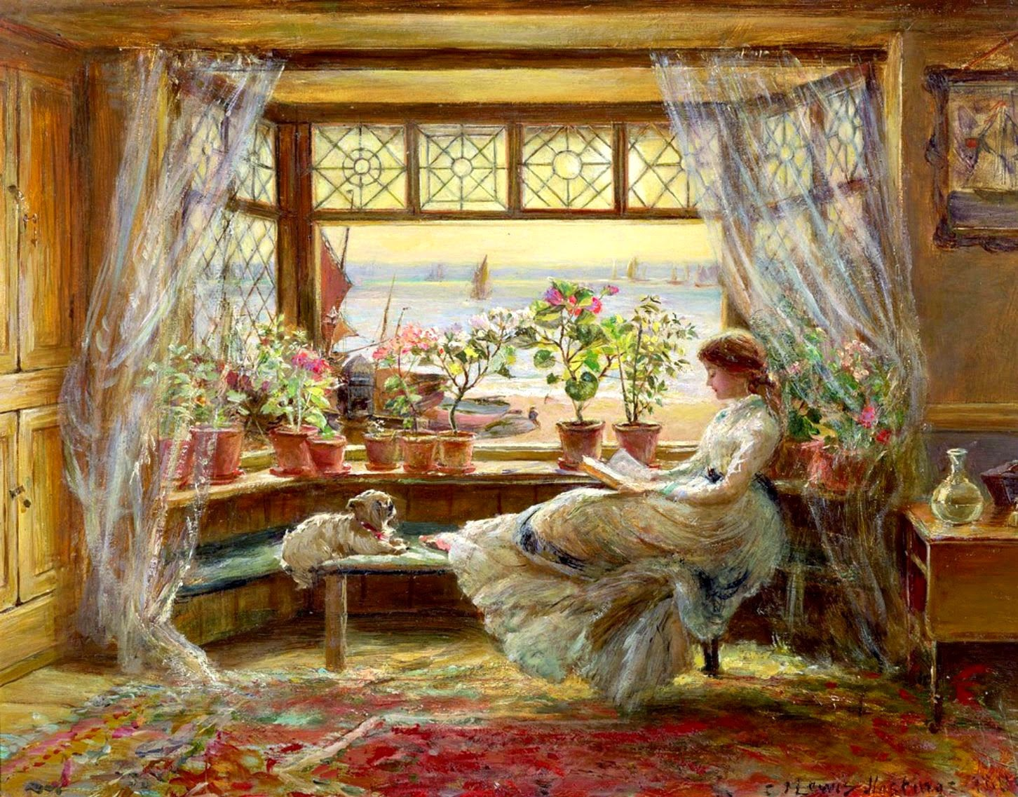 """Charles James Lewis, """"Reading by the Window"""""""