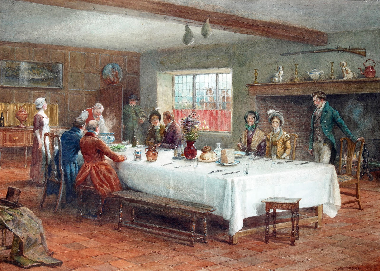 George Goodwin Kilburne, A Meal Stop at a Coaching Inn