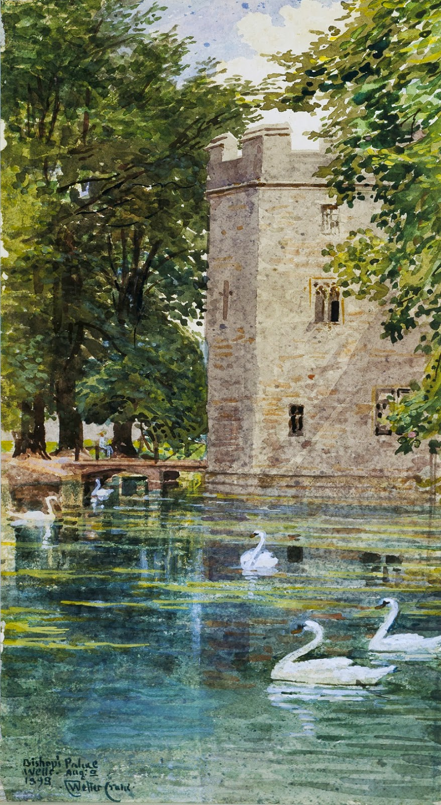 Walter Crane, The Moat and Bishop's Palace, Wells Cathedral
