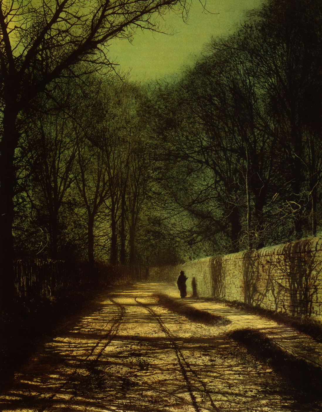 Atkinson Grimshaw, Tree Shadows on the Park Wall, Roundhay Park, Leeds