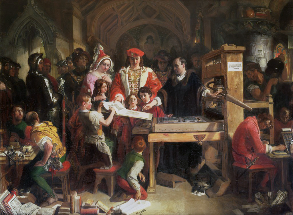 Daniel Maclise, Caxton Showing the First Specimen of his Printing to King Edward IV and Queen Elizabeth at the Almonry, Westminster