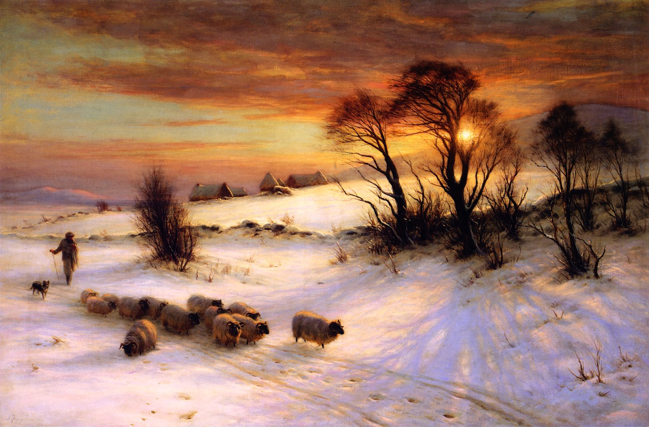 Joseph Farquharson, Herding Sheep in a Winter Landscape at Sunset