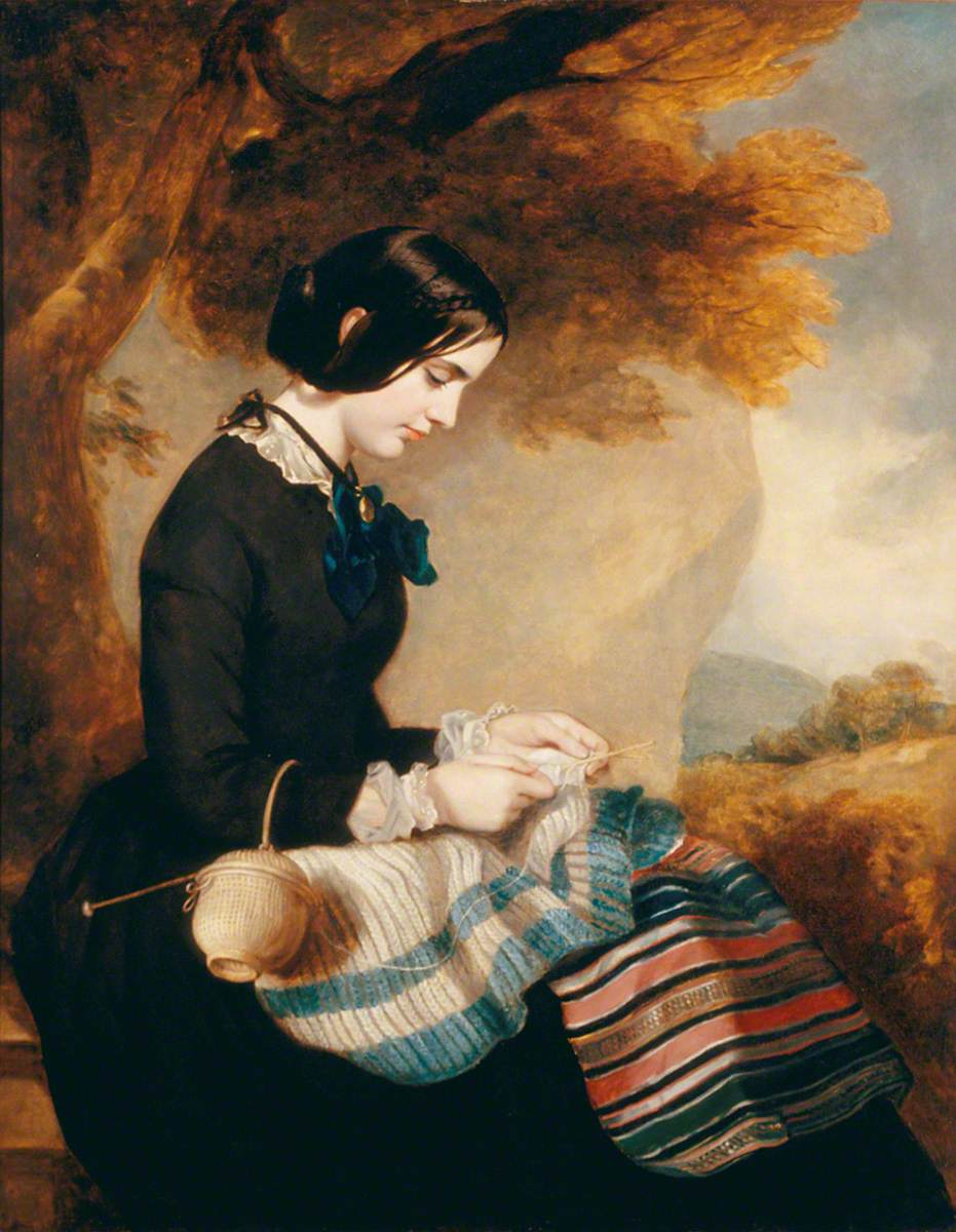 Sir Francis Grant, Mary Isabella Grant Knitting a Shawl