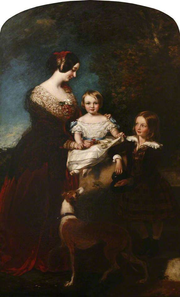James Sant, Caroline, 3rd Countess of Mount Edgcumbe with Her Two Youngest Children, Charles and Ernestine