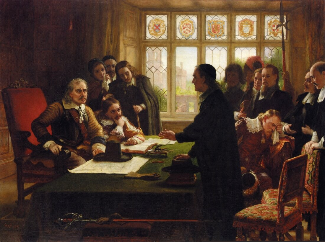 Charles West Cope, Oliver Cromwell and His Secretary John Milton, Receiving a Deputation Seeking Aid for the Swiss Protestants