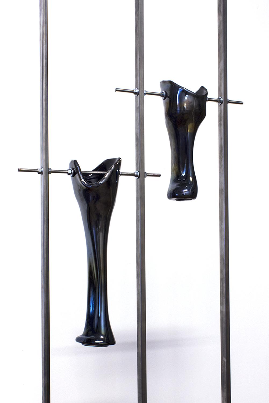 LEGS I-II (blown glass, black pigment, welded steel), 2018