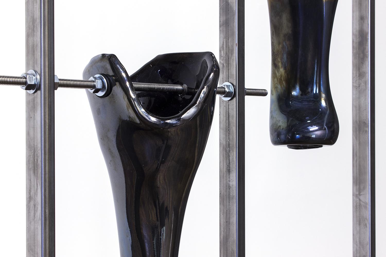 LEGS I-II (blown glass, black pigment, welded steel)