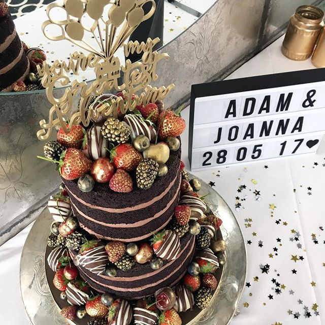 Chocolate Naked Wedding Cake with Gold and Chocolate Dipped Mixed Berries