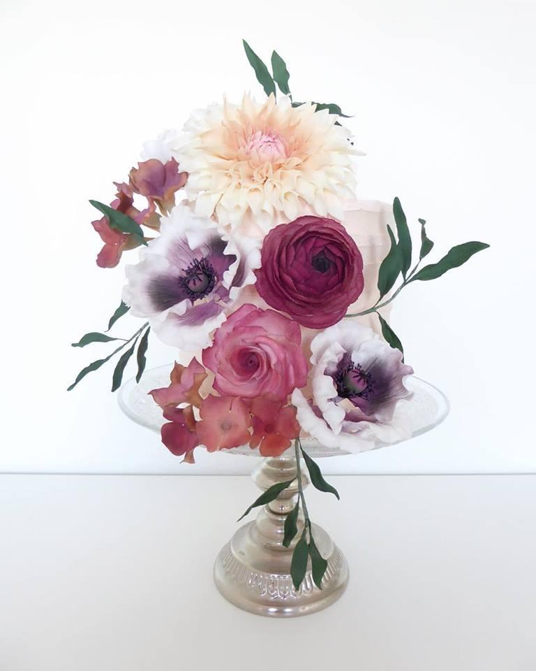 Dahlia, Poppy & Ranunculus Sugar Flower Cake