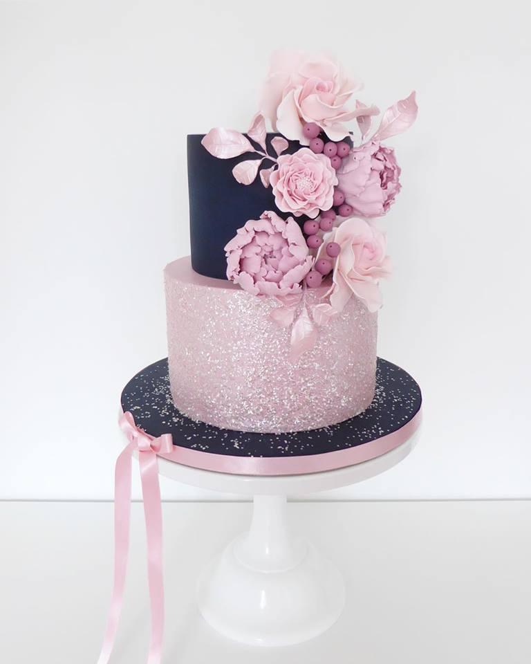 Navy Blue & Pink Sparkle Flower Cake