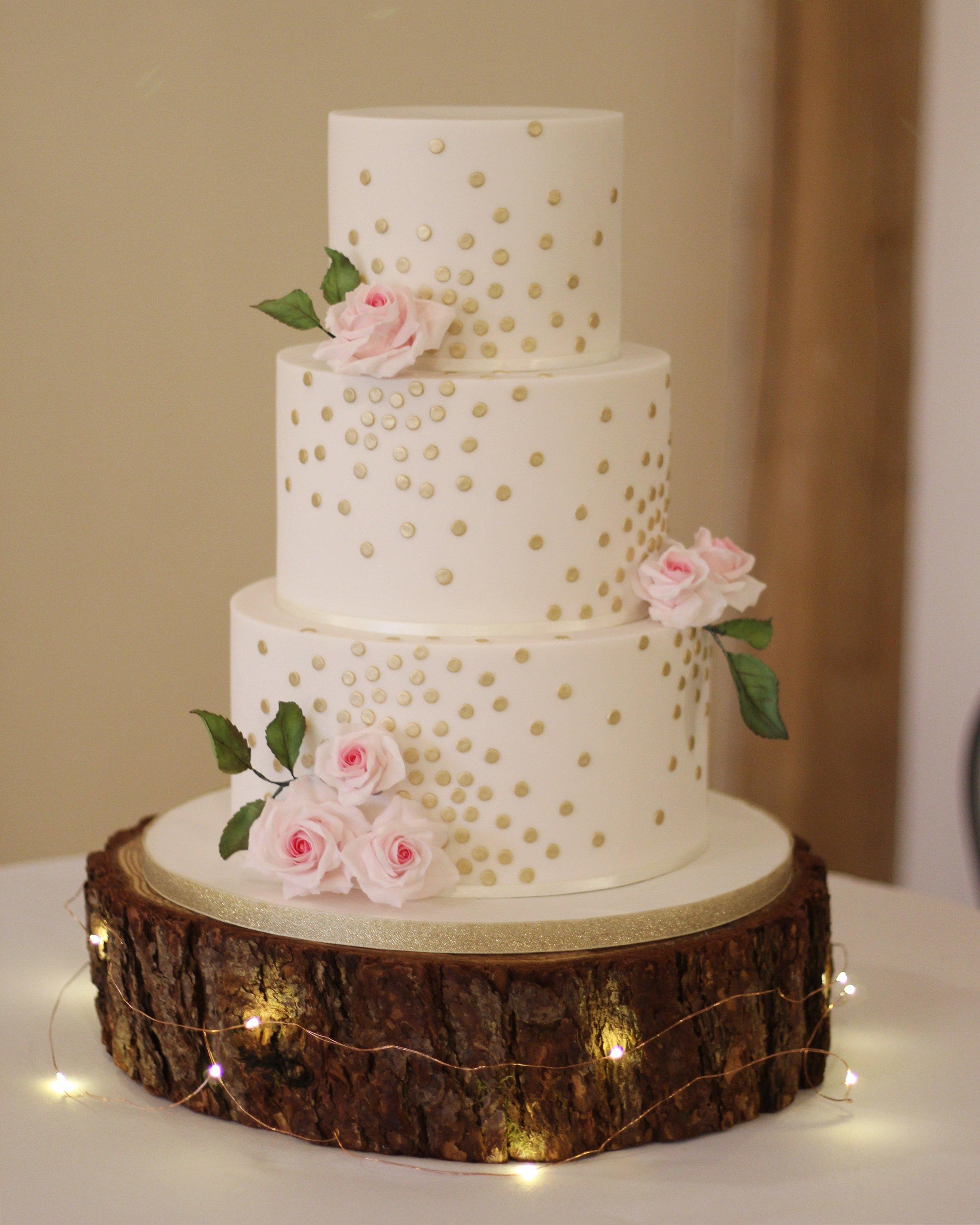 Gold Polka Dot Rose Cake