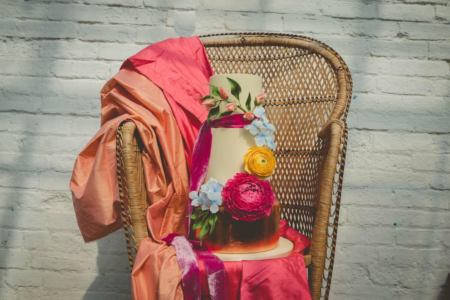 Copper & bright sugar flower garland wedding cake
