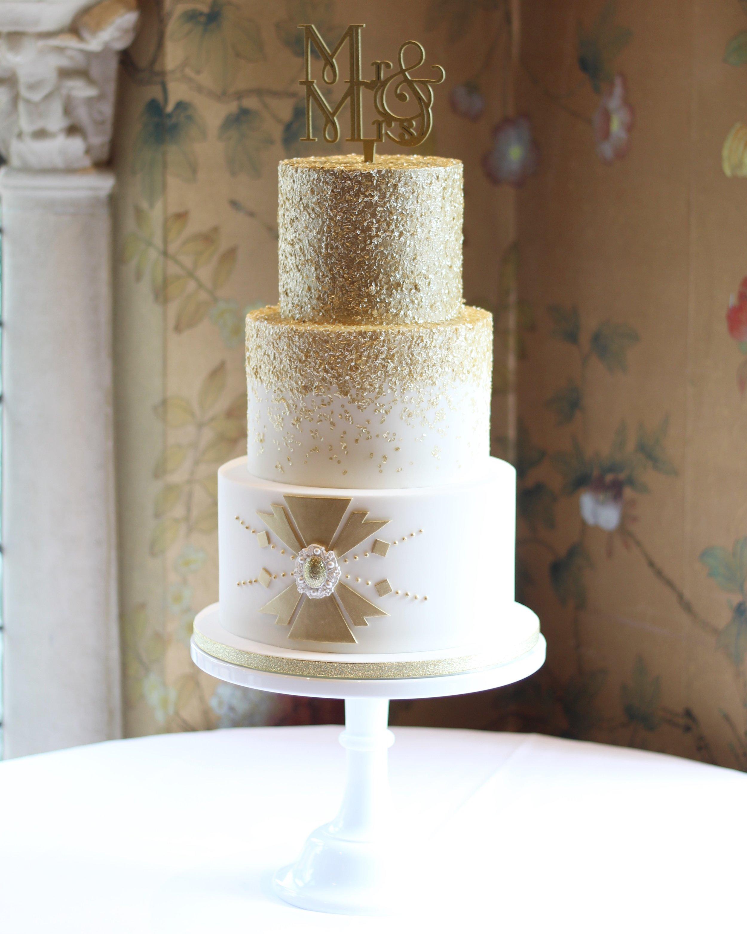 Gold Sparkle Art Deco Wedding Cake