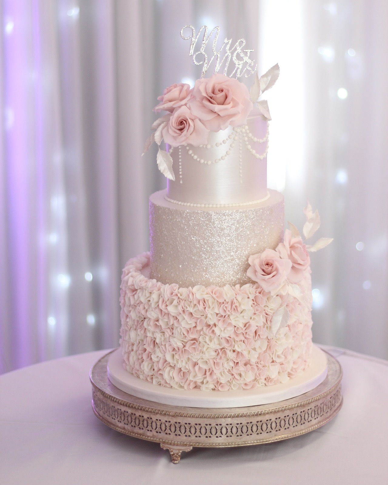 Blush Pink & Pearl Wedding Cake