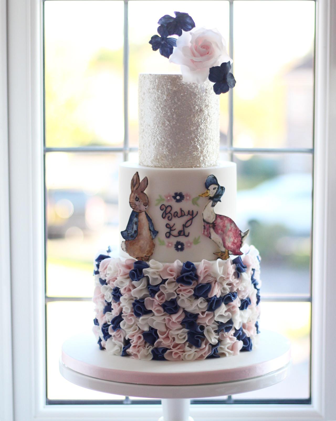 Peter Rabbit & Jemima Puddle Duck Baby Shower Cake
