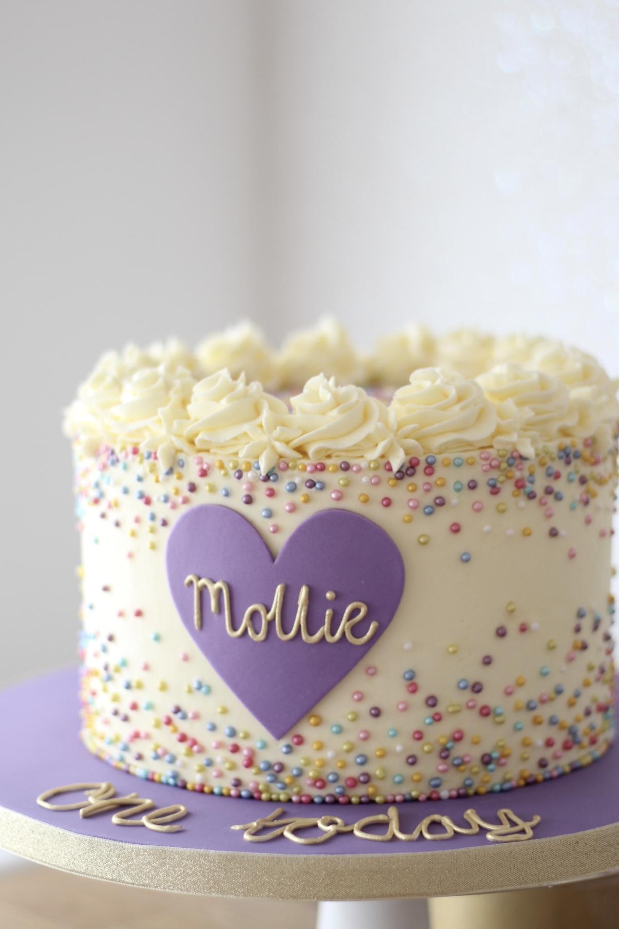 Rainbow First Birthday Cake