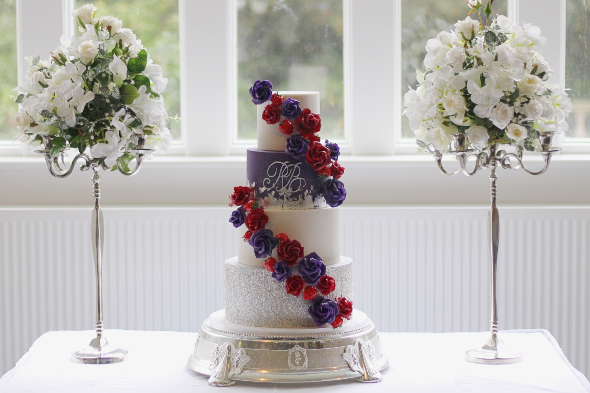 Plum & Burgundy Statement Wedding Cake