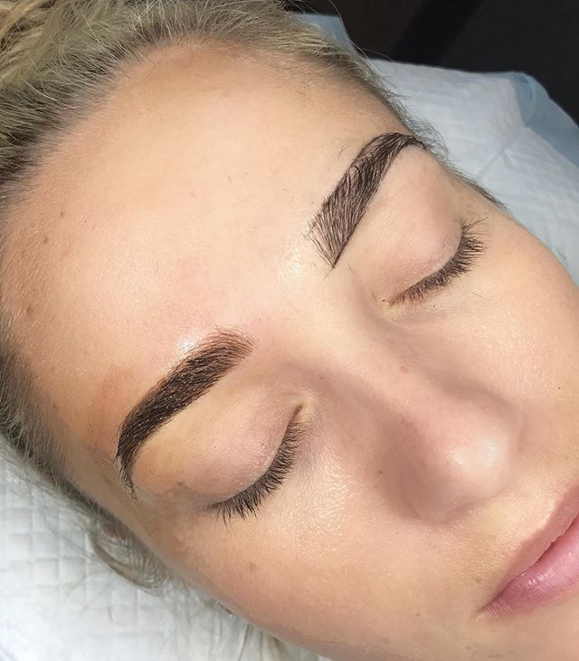 "When clients ask me if people with already full brows should get their brows done. ""Yes. Yes you should."" 😉😍😻 My longtime lash client finally took the plunge and microshaded her brows. Along with lashing her I've also waxed her brows and I always knew they'd be killer with just a bit of fill in. Annnnnnnnnd I was right. 😎 Full, defined, and worry free. 🙌🏽 Now booking for September for new sessions and annual touch ups. 2nd session touch ups that had to be rescheduled for whatever reason are being booked into Oct depending on availability. Happy Thursday!"