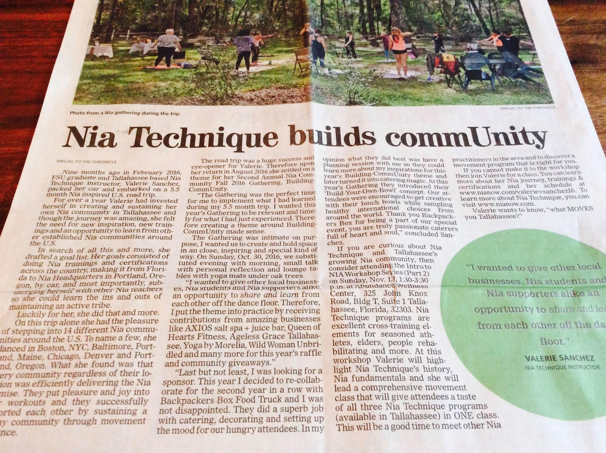 Tallahassee Democrat - Nia Technique® builds commUnity
