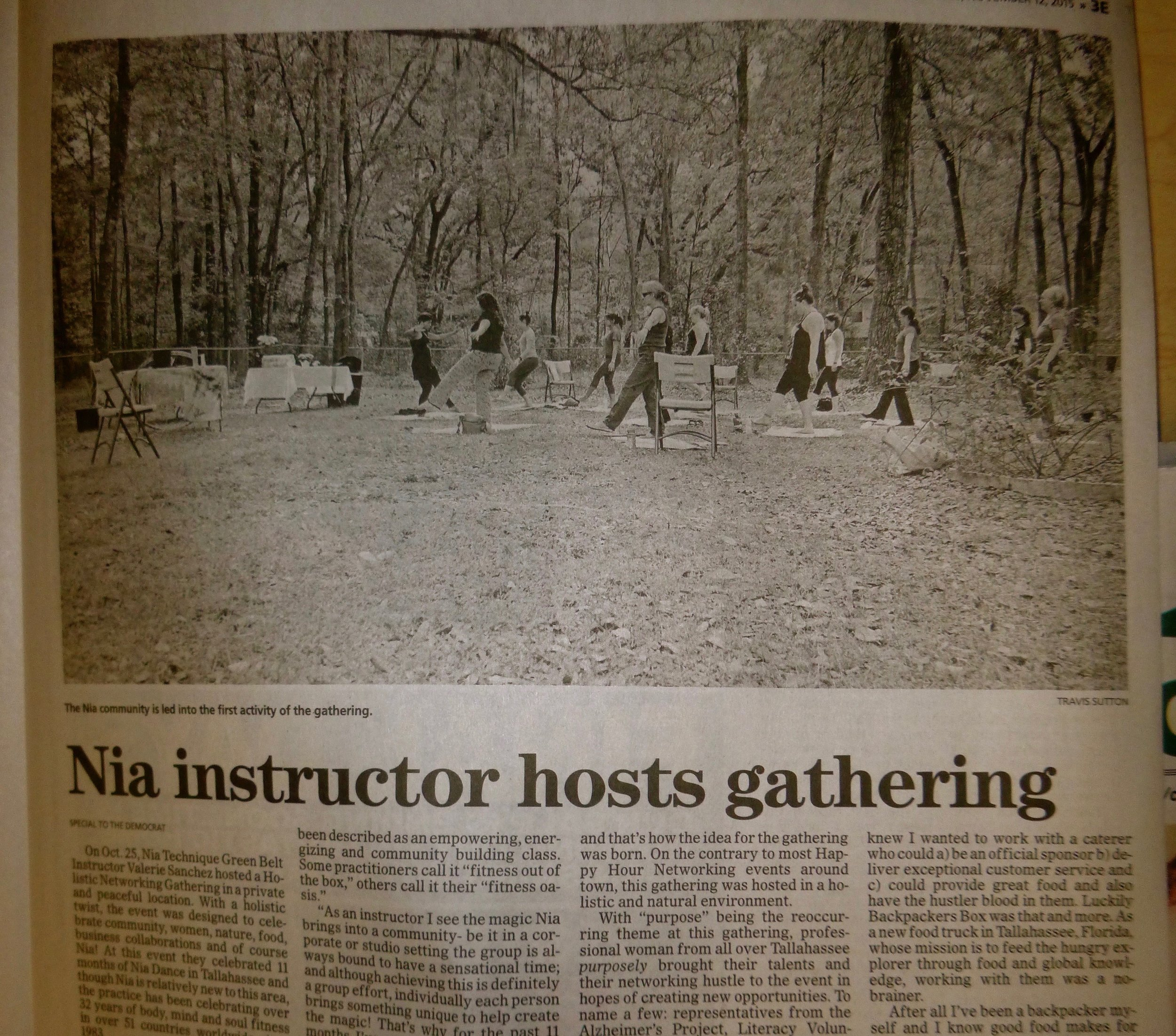 The Chronicle - Nia Instructor Hosts Gathering