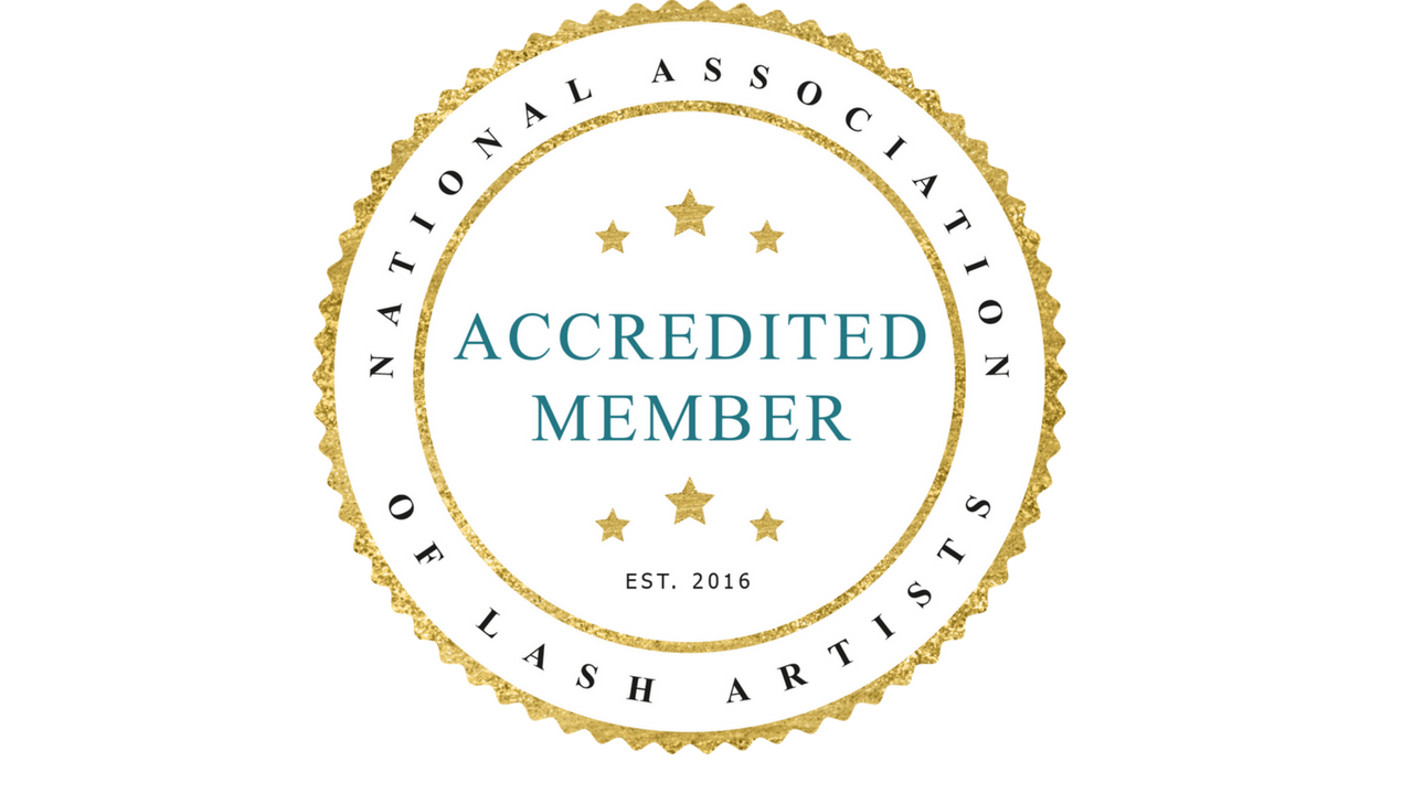 National association of lash artists accredited member seal