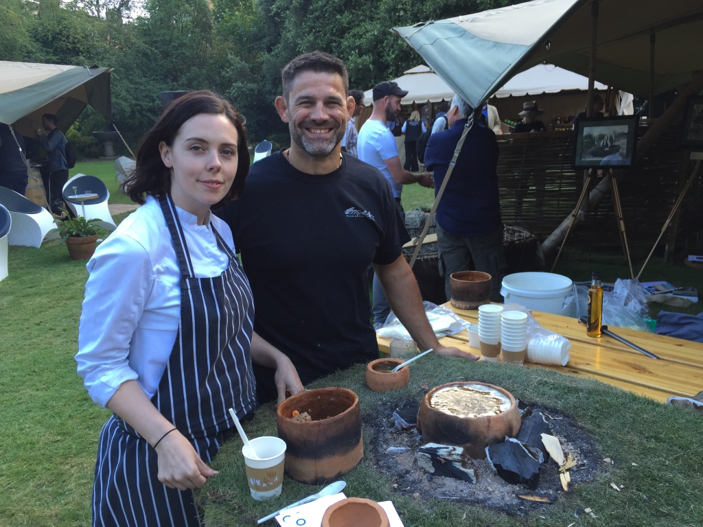 Cooking bone broth with Dani Berry in Fitz William's Square, Ireland at the 2016 Odais Food Event