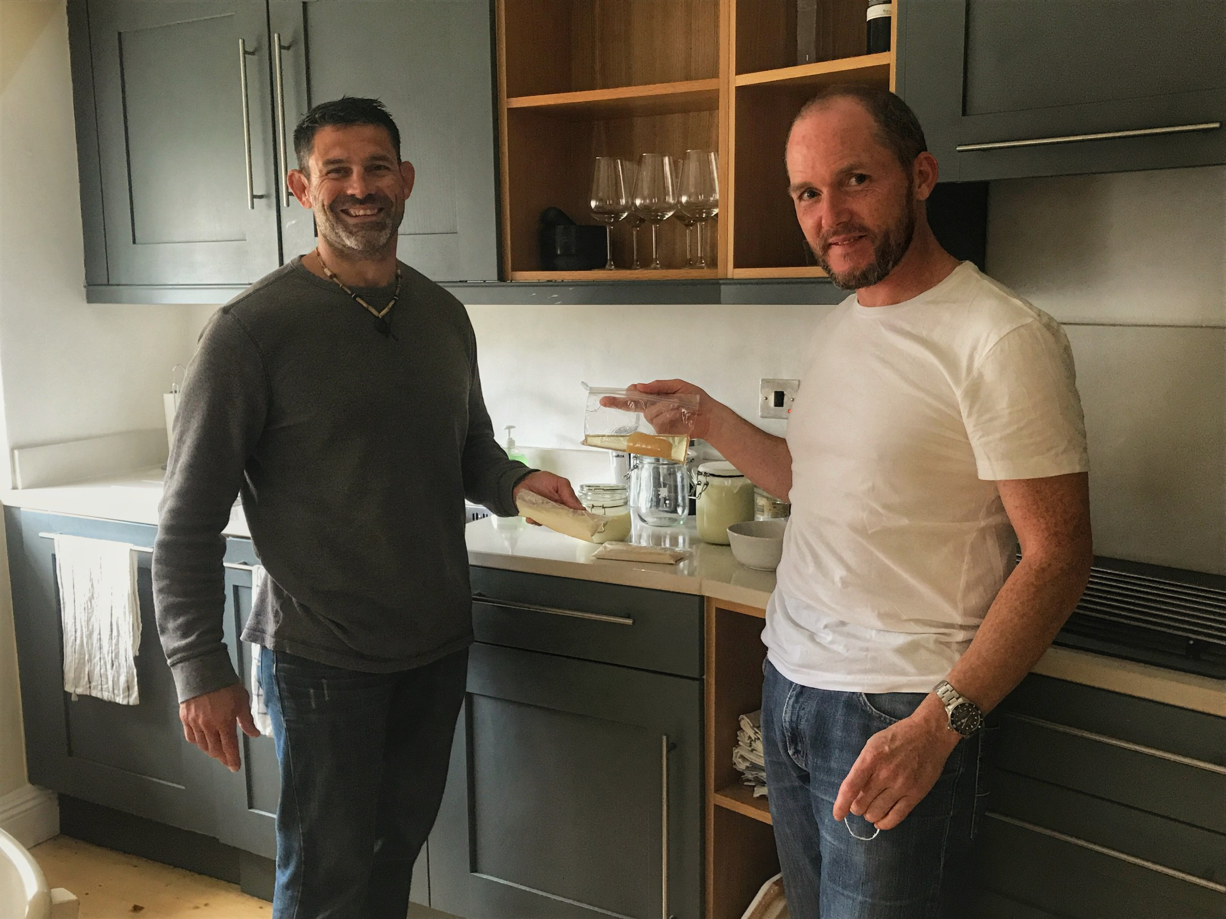 Chef Neil Barrett in my new kitchen at Airfield Estates in Ireland generously sharing his cultures. He is holding jun, a kombucha that feeds off of honey instead of sugar - I can't wait!