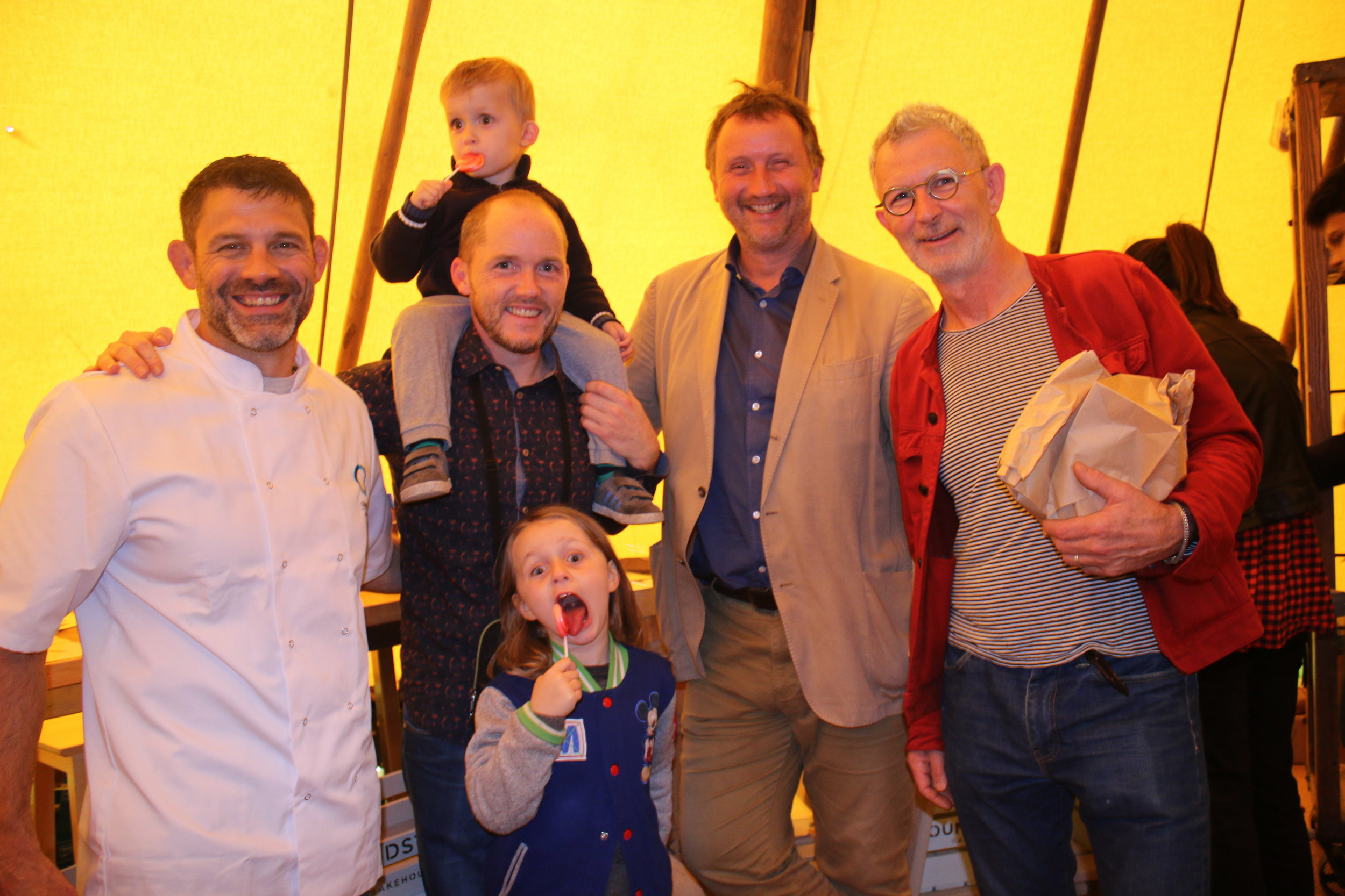 Bill and Jason with Chefs Kevin Thorton and Neil Barrett (plus his adorable kids)