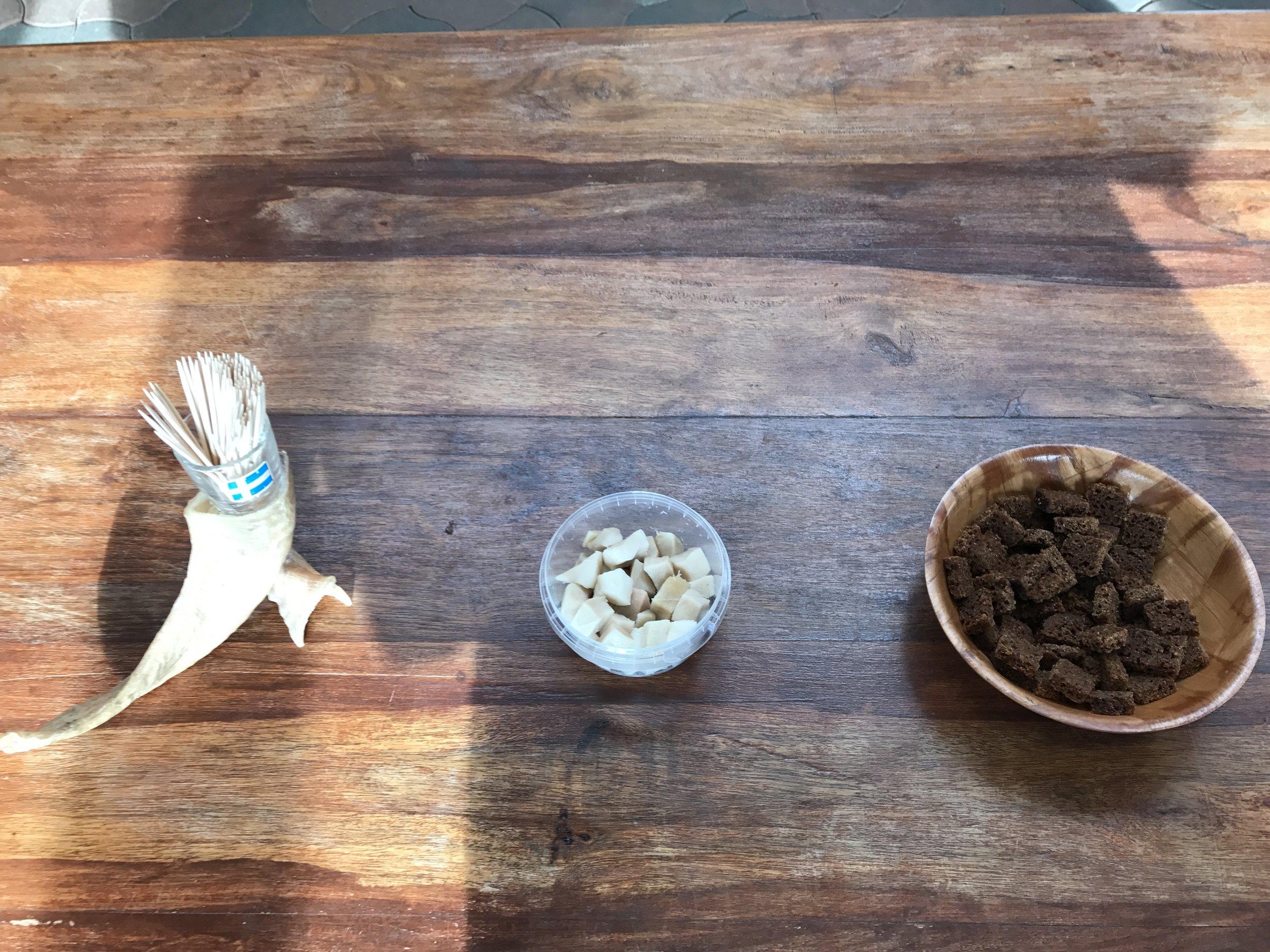 Toothpicks, shark and rye bread