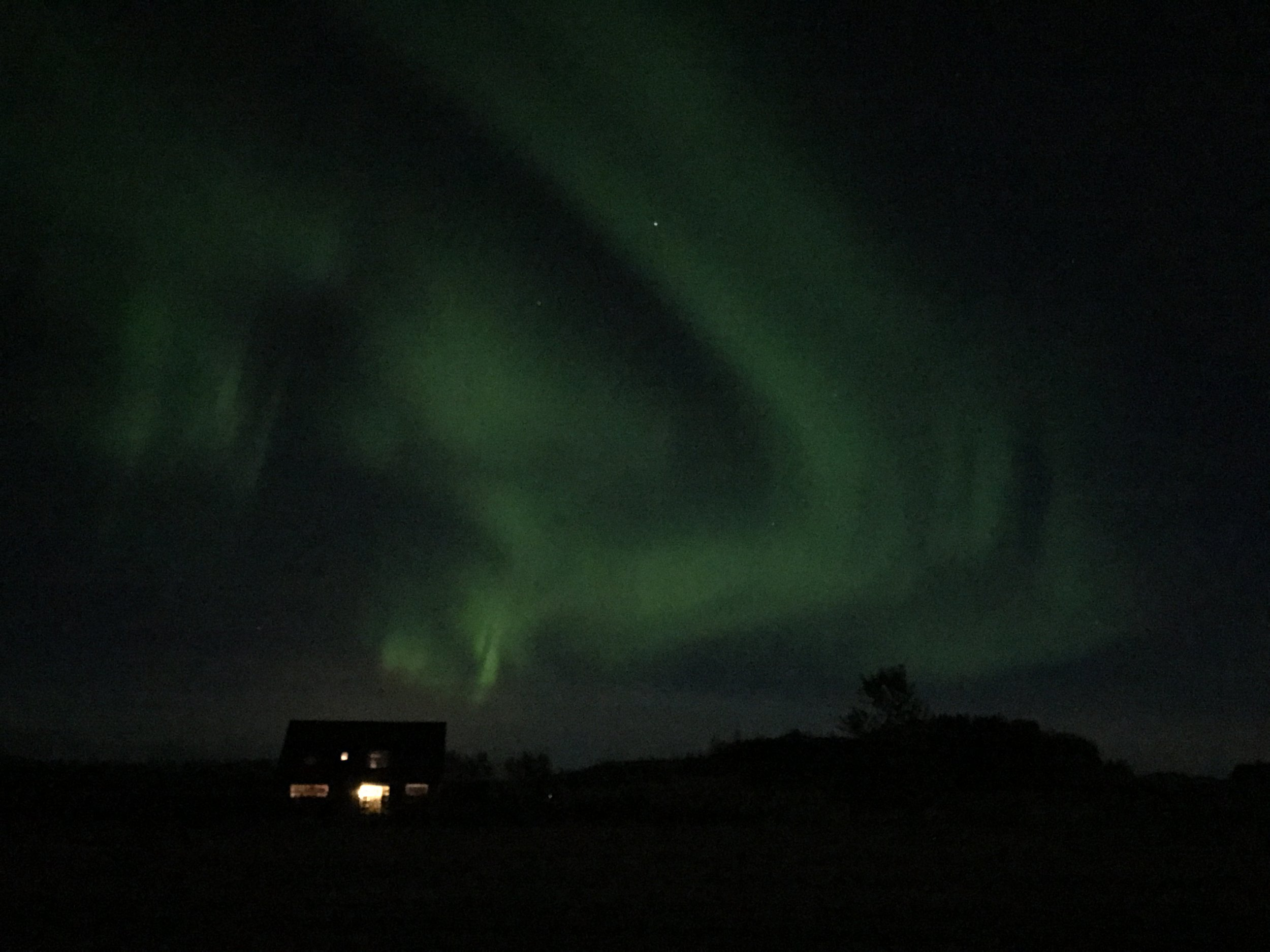 We were fortunate enough to witness the Northern Lights on our walk home from the workshop one night.