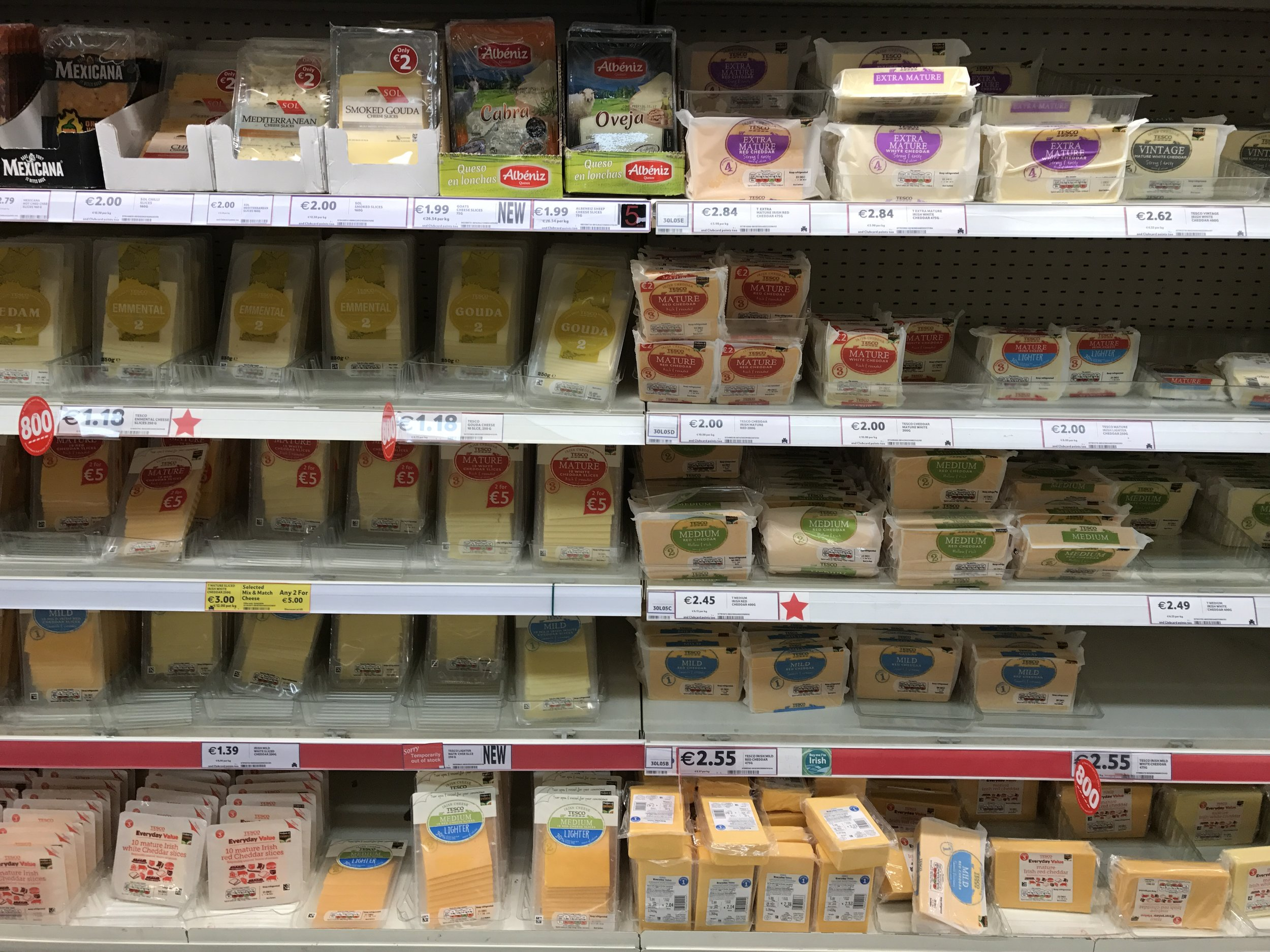 A typical grocery store display of modern industrial cheese.  It doesn't have to be this way.
