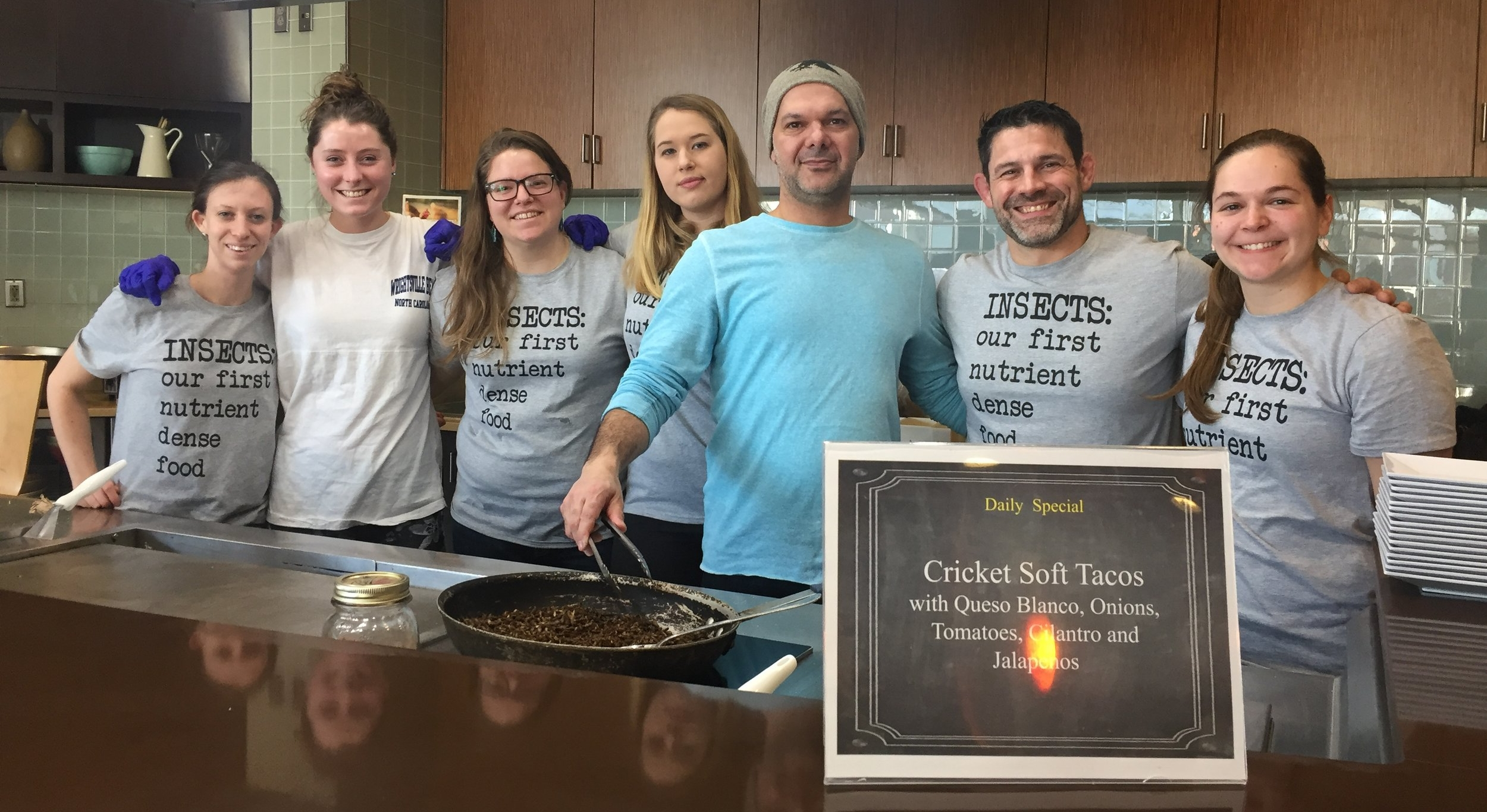 Jarrod Goldin, co-founder of  Entomo Farms , cooks Cricket tacos with WAC Anthropology students