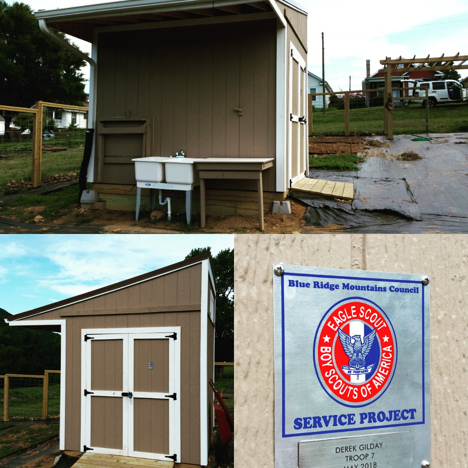 Our shed and wash station, built by Boy Scout Troop #7