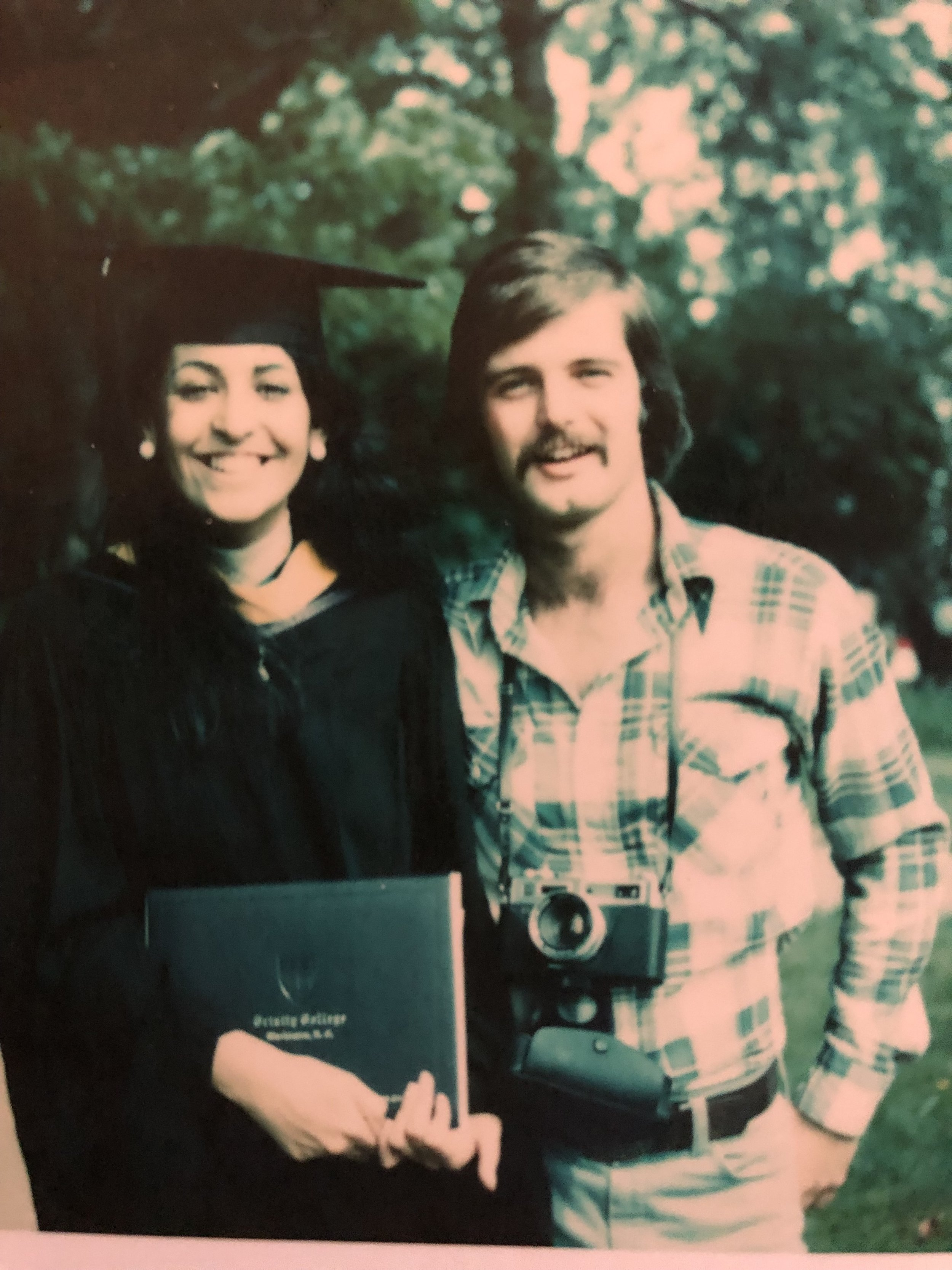 Grace and brian at Grace's graduation from Trinity college in 1978.