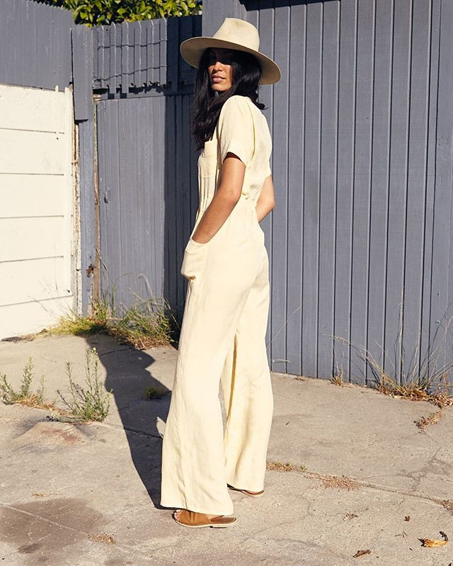 lil slice of lemon meringue pie @jasminecomino in our JENAVIEVE JUMPSUIT // new fabrics dropping today 🍋