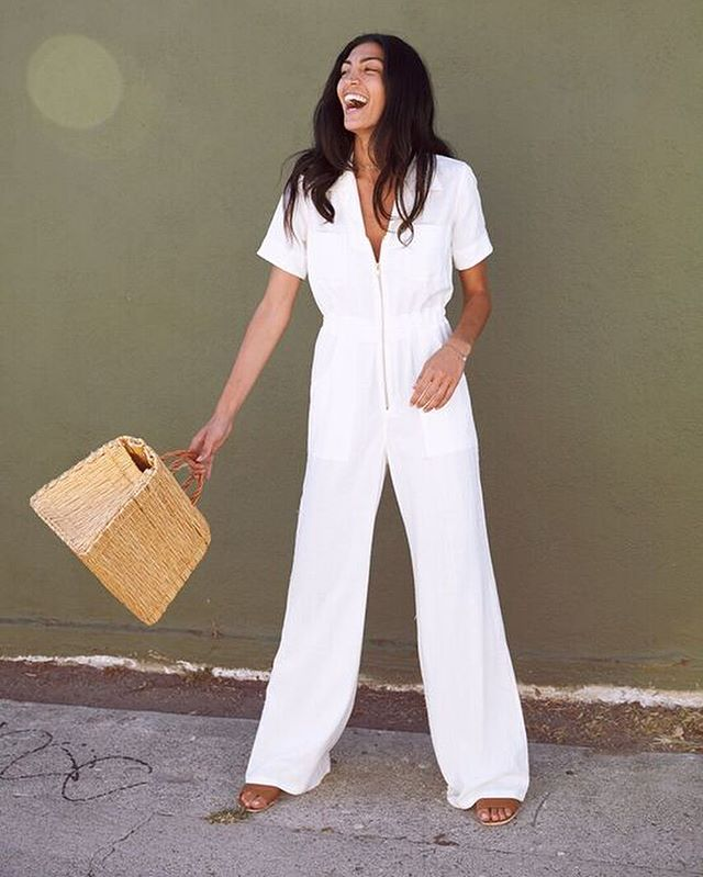 The Jenavieve Jumpsuit in Coco Stripe 🌸 made in downtown Los Angeles from rescued tencel jacquard fabric // NOW ONLINE