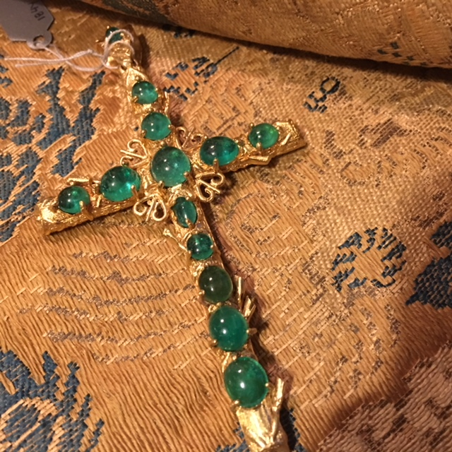Gold Cross, 1890's, with cabochon emerald.