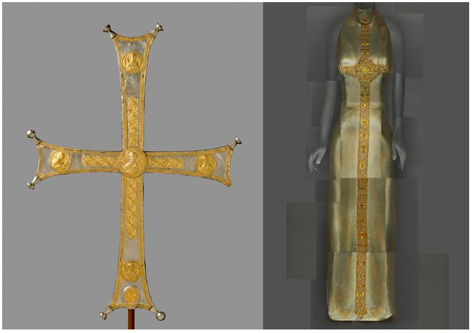 """Heavenly Bodies: Fashion and the Catholic Imagination""  Vogue, May 2018   Processional cross, Byzantine, c. 1000–1050, silver, silver gilt; (R): Evening Dress, Gianni Versace for Versace, Fall 1997–98  Photos: The Metropolitan Museum of Art, Rogers Fund, 1993 (1993.163) / ©The Metropolitan Museum of Art; The Metropolitan Museum of Art, Gift of Donatella Versace, 1999 (1999.137.1) / Image courtesy of The Metropolitan Museum of Art, Digital Composite Scan by Katerina Jebb"