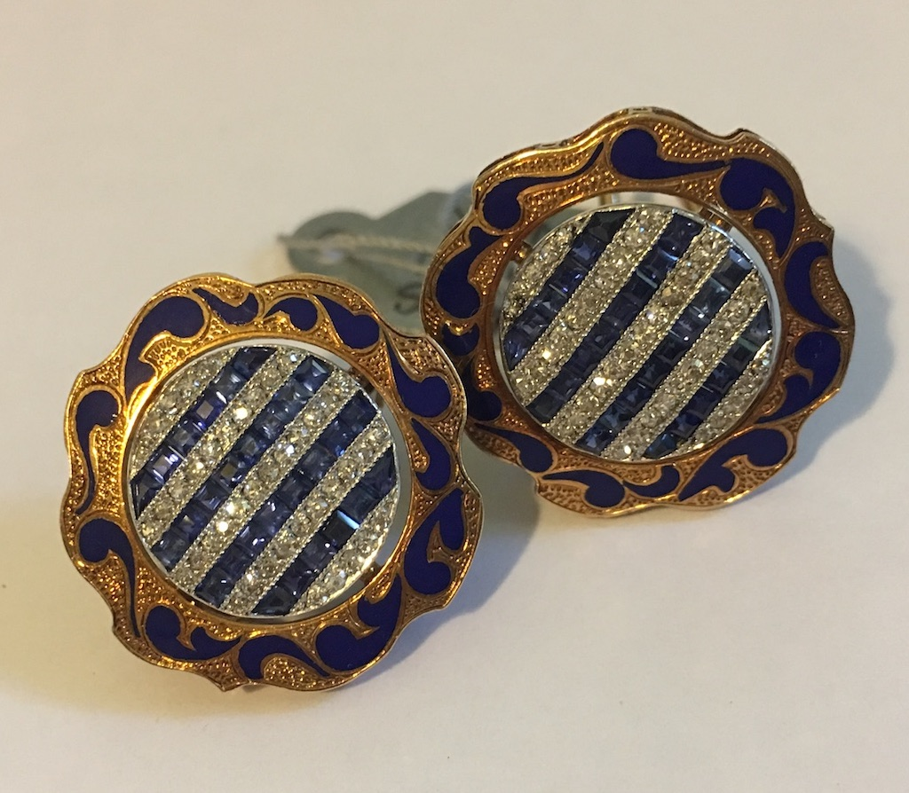 Gold Circular Sapphire & Diamond Earrings