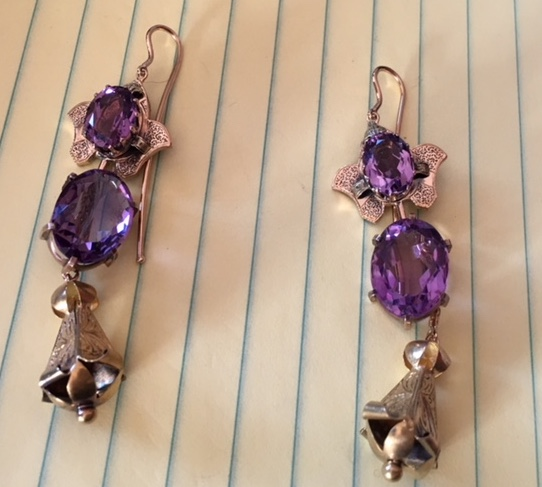 Amethyst earrings in progress.JPG