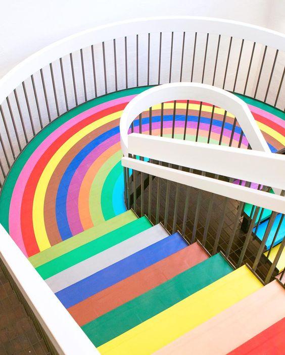 Paint a rainbow staircase -