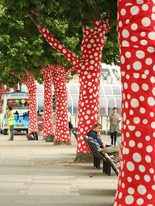 Fabric bomb all the trees in a street -