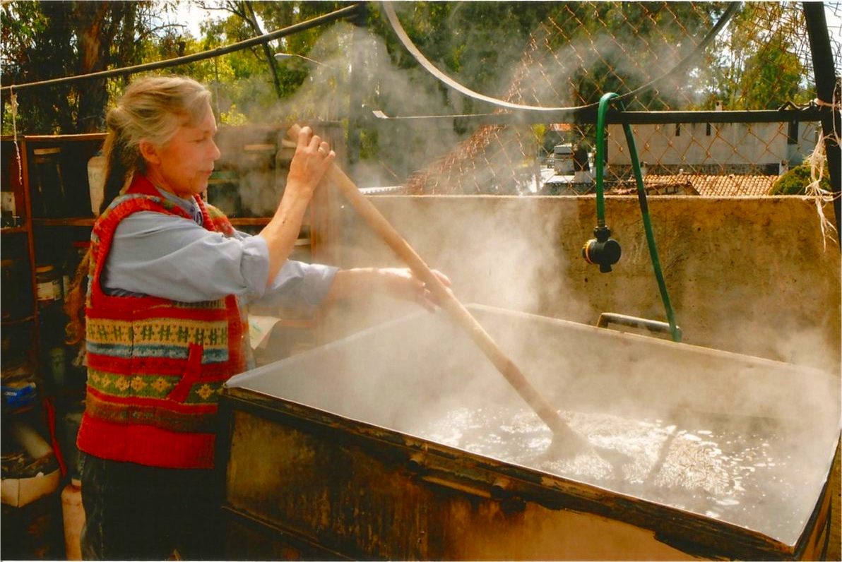 En El Jorongo se tiñe la lana a mano en una tina de acero inoxidable hecho por Sabino Aguilar, el dueño, y usando un quemador de alta presión. Ruth usa tanto las plantas de temporada para teñir como anilinas para obtener una gran variedad de tonos.