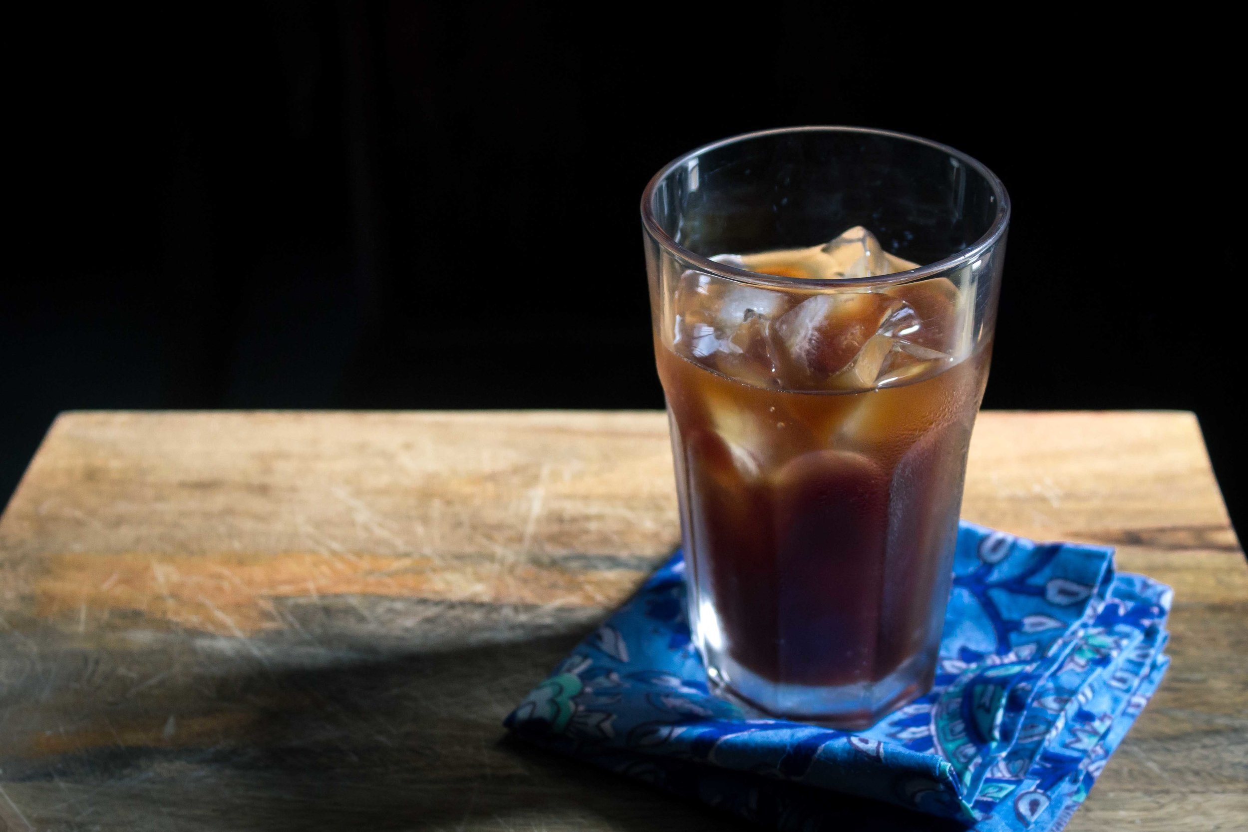 A simple glass of cold brew coffee