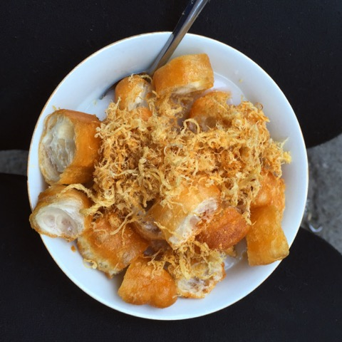"""This is called """"cháo sườn,"""" my favorite street food my bestie Yen Anh introduced me to while traveling in Vietnam."""