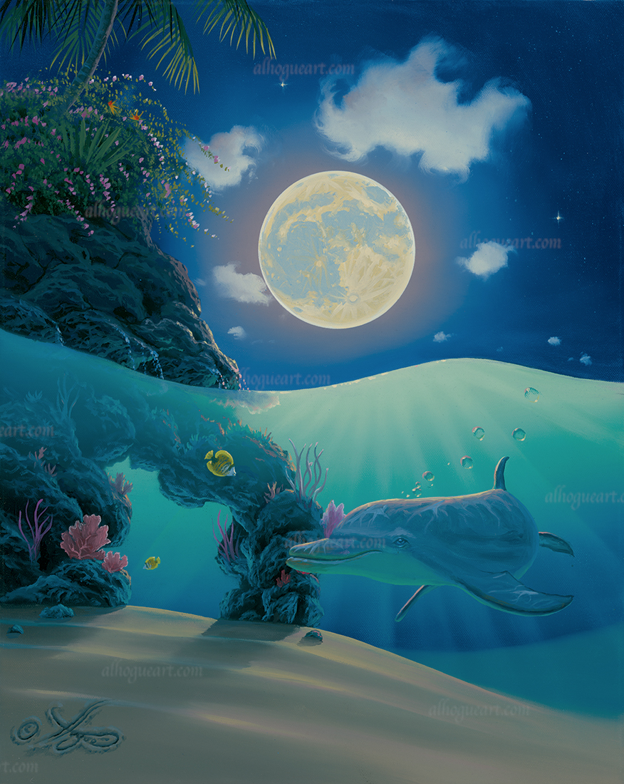 """""""Dolphin Moonbeams""""  PP 16x20 giclee 100  SN 24X30 giclee 140  Total 240"""