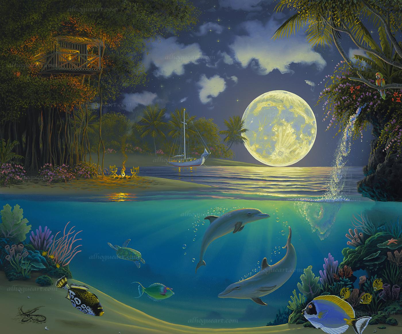 """Moonlit Symphony""  LSN 24X28.75 lithographs 1,500  SN 24X30 giclee 140  AC 30X37.5 giclee 120  MC 36X45 giclee 75  Total 1,835"