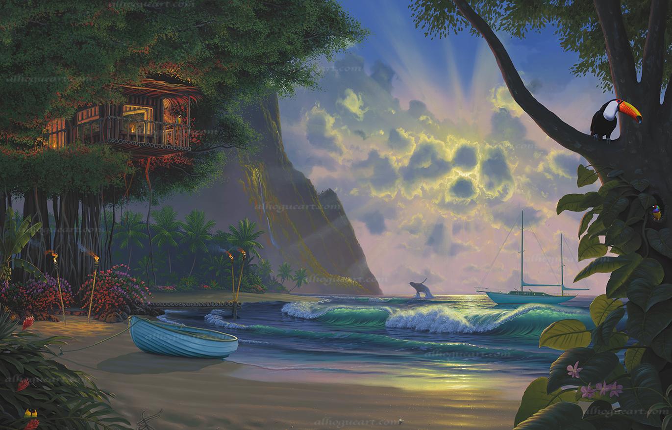 """Paradise""  PP 16X24 giclee 50  SN 24X36 giclee 140  MC 27.5x44 giclee 75  Total 265"