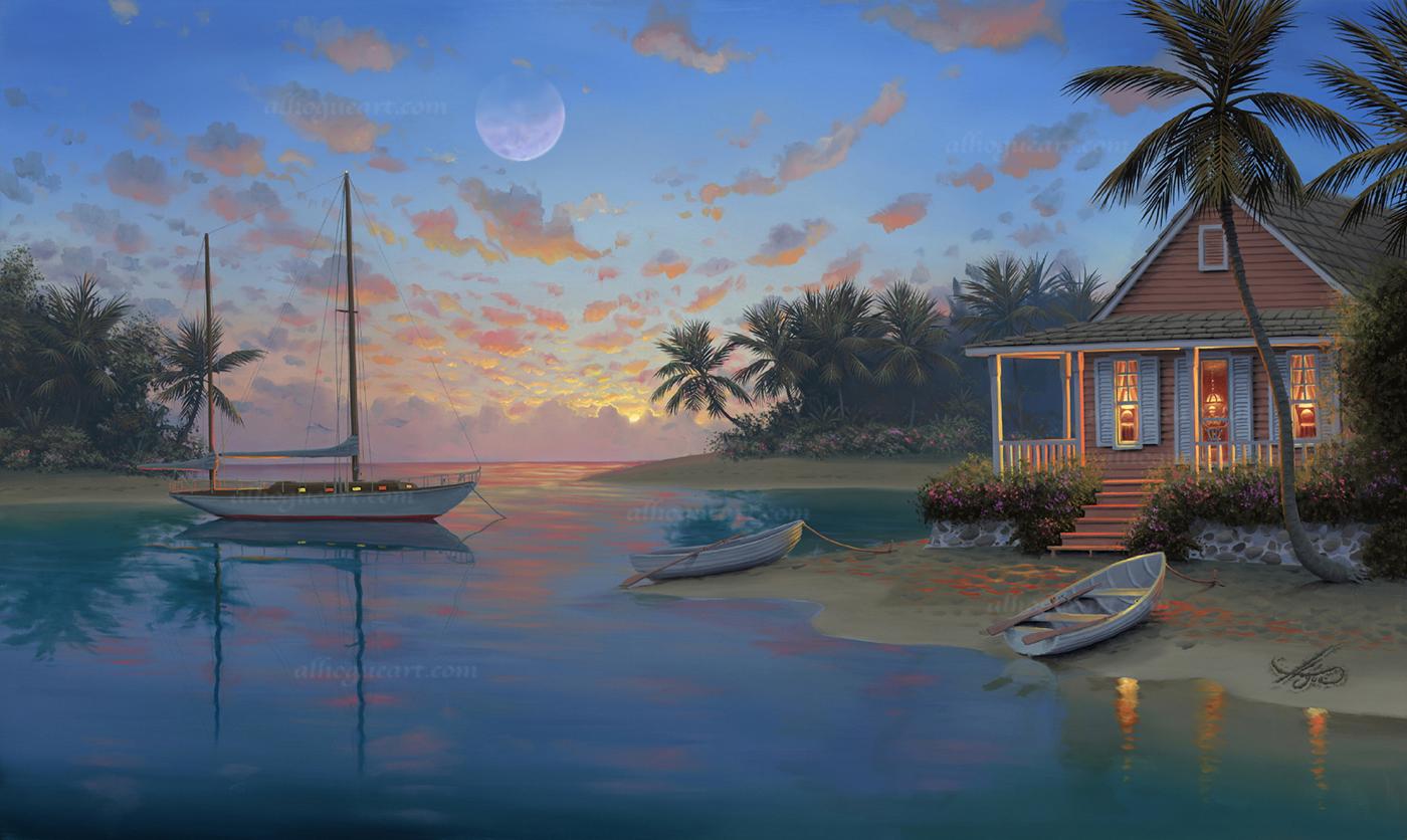"""Serenity Cove""  LSN 21X34 lithograph 1,500  SN 21X34 giclee 140  AC 26.5X44 giclee 120  MC 32X52 giclee 75  Total 1,835"