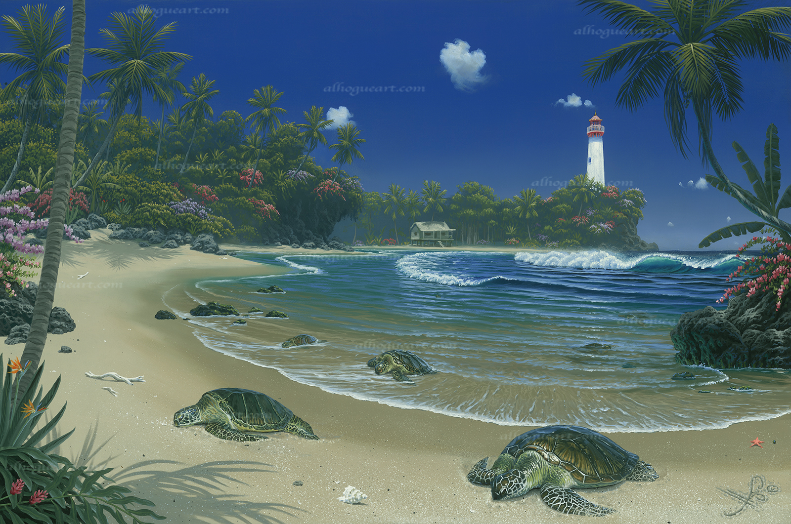 """Turtle Bay""  PP 16X24 giclee 50  SN 24X36 giclee 140  MC 27.5X44 75  Total 265"